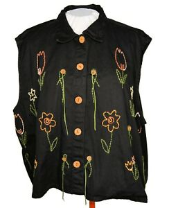 SHELLY & ARNOLD Vest Size 4X embroidered BLACK floral accents