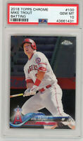 Mike Trout Los Angeles Angels 2018 Topps Chrome #100 Baseball Card PSA 10