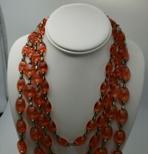 """Cold Water Creek Red Chain Necklace 21"""" Length"""