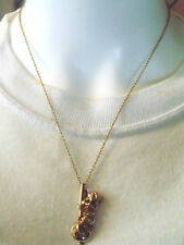 Gold Mouse Sitting on the Clock with Green Rhinestone Eyes Necklace