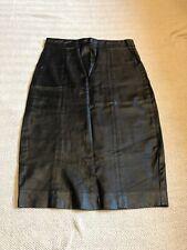 Ladies Black Leather LOOK skirt Topshop Size 8