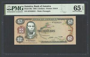 Jamaica 2 Dollars 1-2-1993 P69e Uncirculated Graded 65