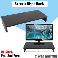 Black Desktop Monitor Stand LCD TV Laptop Computer Screen Riser Shelf UK sale