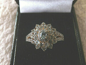 ALEXANDRITE AND ZIRCON FLORAL CLUSTER 925 SILVER RING WITH 14K GP, SIZE S. NEW.