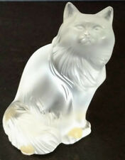 Lalique Older Vintage Frosted Happy Kat Figurine Cabinet, Night Stand, Wherever