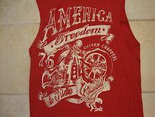 Faded Glory Sleeveless America Freedom Custom Chopper Distressed Red T Shirt M