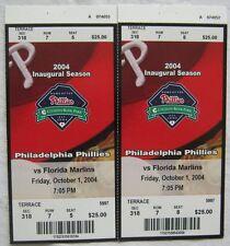 2 Philadelphia Phillies vs Florida Marlins 2004 Ticket Stubs Oct 1,2004
