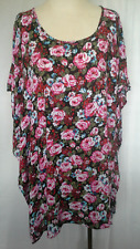Ladies Womens Kaftan Top Shirt Dress Casual Pink Rose Kaftanned Size S(10,12,14)