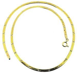 9ct 9Carat yellow gold diamond cut star herringbone chain necklace 17.75 inch