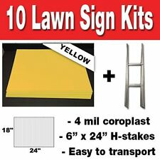 YELLOW 10 pack Blank Yard Signs 18x24 with H-stakes