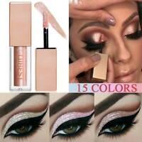 15 Color Metallic Liquid Eyeshadow Glow Shimmer Glitter Eyeliner Long-Lasting UK