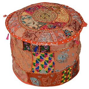 """Indian Round Ottoman Stool Orange Patchwork Cotton 16"""" Embroidered Pouffe Cover"""