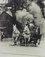 HORSE DRAWN FIRE TRUCK 8X10 PHOTO PICTURE FIREFIGHTING 1890'S FURNACE BELCHING