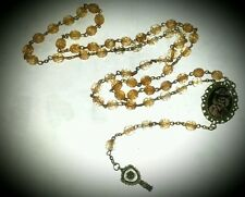 """Se7en Deadly """"Skull Duggery"""" Tea Stained Antiqued Rosary Necklace Gothic Pinup"""