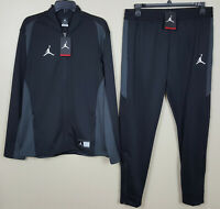 NIKE JORDAN DRI-FIT BASKETBALL TRACK SUIT JACKET + PANTS BLACK NEW (SIZE LARGE)