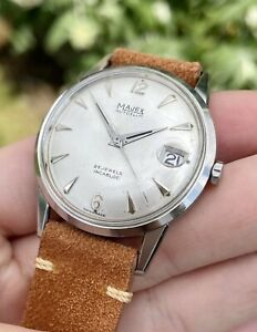 Vintage Men's 1960's MAJEX AUTOSLIM Micro Rotor Cal-1001 Used On Polerouters!