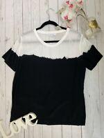Second Female L 14 16 black white dip dye casual boxy loose fit t shirt thin VGC
