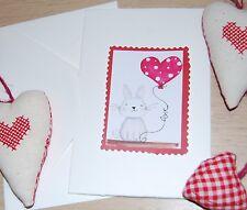 biglietto auguri fatto a mano amore - coniglio palloncino cuore