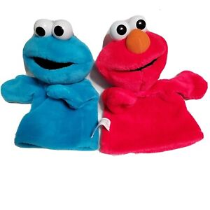 Sesame Street 2004 Cookie Monster & Elmo Hand Puppets Fisher Price