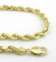 REAL 10K Yellow Gold 6mm WIDE Italian Diamond Cut Rope Chain Link Necklace 20""