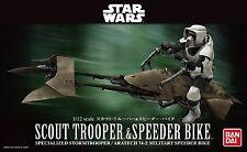 BANDAI STAR WARS MODEL KIT scout trooper & speeder bike MAQUETTE 1/12 NEUVE