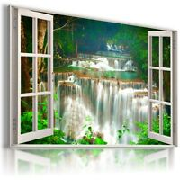 W359 WATERFALL THAILAND Window View Canvas Wall Art Picture Large SIZE 30X20""