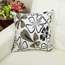 "1x Black White flowers Print bedside Canvas Cushion Cover Pillow Cover 18""x45cm"