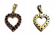 Colgante Corazón 900 Plata Bañado en oro Granate de collar