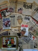 BEAR BRYANT MEMORABILIA (Books, Newspaper Clippings, Coca-Cola Tray)