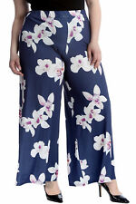 New Womens Plus Size Palazzo Trousers Ladies Pants Flared Wide Leg Floral Print