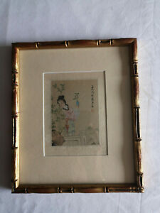 Japanese Watercolour Pretty Girl, Signed and Seal Mark