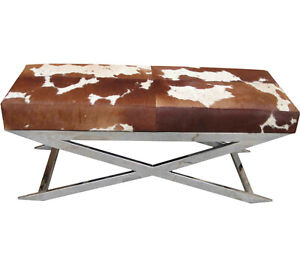 Handmade Designer Tan and White Hairy Leather Bench