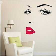 Wall Stickers Decor Women Face Red Lips Sticker Removable Art Home DIY Decals
