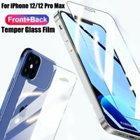 2 in 1 Front+Back Rear Tempered Glass Screen Film for iPhone 12 Mini Pro Max 5G