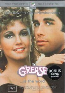 GREASE starring Olivia Newton-John (DVD, 2002) with bonus song book