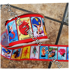 """La Loteria Mexican game 3""""  grosgrain ribbon the listing is for 2 yards total"""