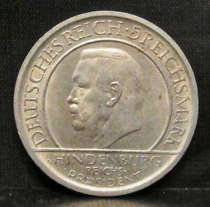 Germany Weimar 1929 A 5 Reichsmark Weimar Constitution UNC