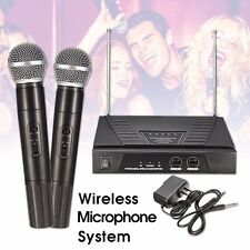 Dual Wireless Cordless DJ Karaoke  Mic Microphone System Public Wedding Church