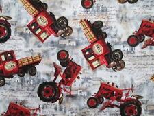 Vintage Farm Tractors Trucks Farm Fresh Cotton Fabric FQ