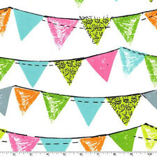FAT QUARTER-Party Bunting Flag Birthday Fabric Michael Miller CX5926-AQUA-D