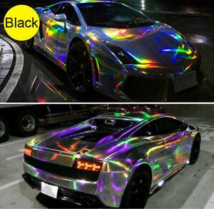 Holographic Laser Chrome Black Iridescent Vinyl Film Car Wrap Film All Sizes New