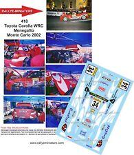 DECALCOMANIE 1/43 RIF. 418 TOYOTA COROLLA WRC MENEGATTO RALLY MONTE CARLO 2002