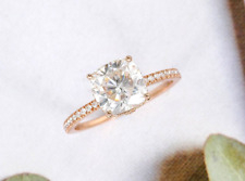 2.50 Ct Cushion Cut Moissanite Solitaire Promise Engagement Ring 14k Rose Gold
