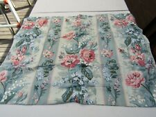 Country Chic Teal/Blue Rose Floral Stripe Standard Pillow Sham Pair EUC