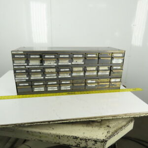 "Equipto 24 Drawer Industrial Metal Small Parts Bin Storage Cabinet 34x11x13-1/2"""