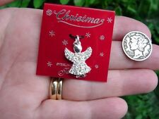Vintage - JEZ Sterling silver - rhinestone CHRISTMAS ANGEL - pendant charm