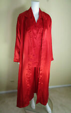 Cacique Lingerie 3 Piece Red Poly Satin PJ Set Pant Top and Robe Size S