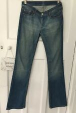 "For All Mankind Distresssed Blue Kick Flare Stretch Jeans size 25 33""L"