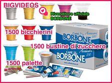 10 KIT CAFFE' BORBONE 1500 BICCHIERI + 1500 BUSTINE ZUCCHERO + 1500 PALETTE