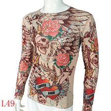 Skull series Tattoo long sleeve T-Shirt for Men Elastic suitable for sport Fit
